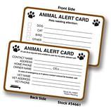 Animal Alert Card for Veterinary Offices