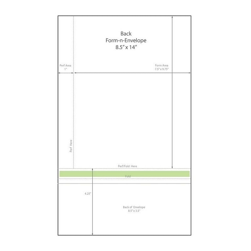 "8-1/2"" X 14"" Blank Memo Size Form-N-Envelope, Detached W"